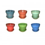 "3"" Glazed Floral Pot Assortment.  30 pieces"