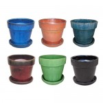 "7"" Glazed Floral Pot Set.  S/2, 6 sets"