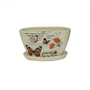 """10"""" Oval Butterfly Postal Planter Set.  S/2, 6 sets"""