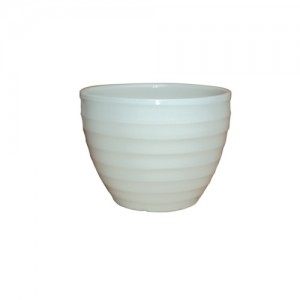 "10"" White Ribsey Planter S/3"